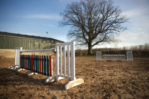 Floodlit outdoor arena with full set of show jumps